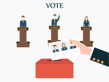 Candidates standing at podium Stock Photography