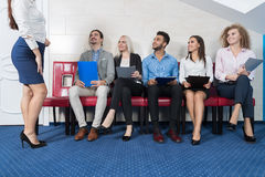 Candidates Wait For Job Interview, Mix Race Business People Sitting In Line Human Resources Royalty Free Stock Images