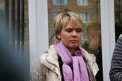 Candidato al alcalde del líder de oposición de Khimki Yevgeniya Chirikova Imagen de archivo