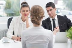 Candidato durante l'intervista di job Fotografia Stock