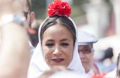 Candidato para o prefeito do Madri na festa do ` de San Isidro do `, consumidor de Begoña Villacis do Madri, o 15 de maio de 201 Imagens de Stock