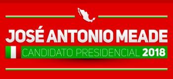 Candidato presidencial 2018, kandyday na prezydenta 2018 hiszpański tekst, Meksykańscy wybory Zdjęcie Stock