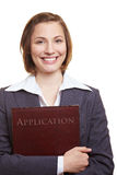 Candidato sorridente con l'applicazione Fotografia Stock