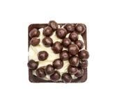 Candie del chocolate de la colección con la opinión superior de las gotas de chocolate Imagenes de archivo