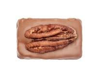 Candie del cioccolato con il pecan dalla vista superiore della raccolta Fotografia Stock Libera da Diritti