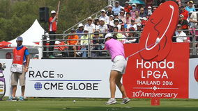Candie Kung of USA in Honda LPGA Thailand 2016. CHONBURI - FEBRUARY 28 : Candie Kung of USA in Honda LPGA Thailand 2016 at Siam Country Club, Pattaya Old Course
