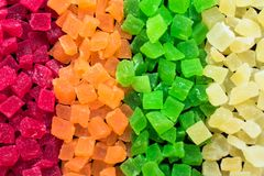 Candied fruit candies multicolored all sorts, background royalty free stock photography