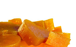Candied fruit jelly apricot on isolated background view from above Royalty Free Stock Images