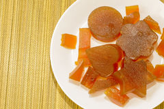 Candied fruit jelly apricot view from above Stock Photo