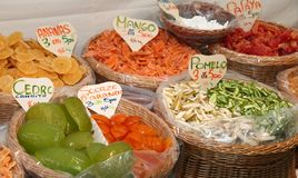 Candied fruit in the market basket in southern Italy Stock Photography