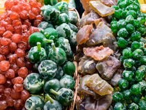 Candied fruit in multiple colors and flavors Stock Photos