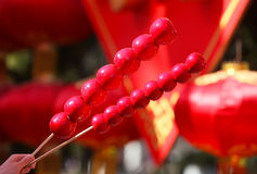 Candied fruit  and silk lantern Royalty Free Stock Images