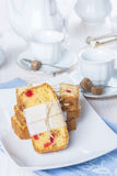 Candied fruits cake with tea and coffee for breakfast Stock Images