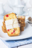Candied fruits cake with tea and coffee for breakfast Royalty Free Stock Image