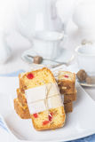 Candied fruits cake with tea and coffee for breakfast Stock Photography