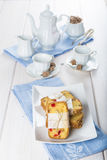 Candied fruits cake with tea and coffee for breakfast Royalty Free Stock Photography