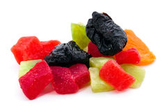 Candied fruits. Dried plum, pear and pineapple. Royalty Free Stock Photos