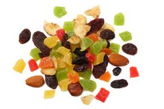 Candied fruits mix with raisins, almonds, hazelnut. muesli. healthy food. fitness food. top view royalty free stock photo