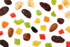 Candied fruits mix with raisins, almonds, hazelnut. muesli. healthy food. fitness food. top view royalty free stock photos
