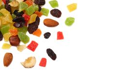 Candied fruits mix with raisins, almonds, hazelnut. muesli. healthy food. fitness food. top view royalty free stock images