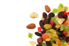 Candied fruits mix with raisins, almonds, hazelnut. muesli. healthy food. fitness food. top view stock photo