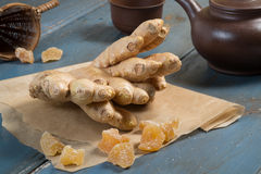 Candied ginger. Whole ginger root  and candied ginger Stock Photography