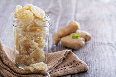 Candied ginger in a jar Royalty Free Stock Photography