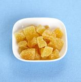 Candied ginger in white bowl Stock Photography