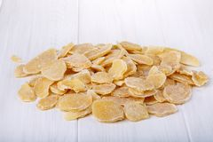 Candied ginger on white royalty free stock photo