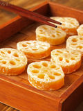 Candied lotus root. Close up of candied lotus root Stock Image