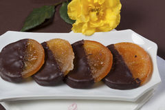 Candied orange with chocolate Stock Images