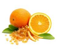 Candied orange peel. Isolated on white ground Royalty Free Stock Photo