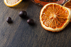 Candied orange slices background on wood Stock Images