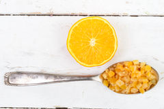 Candied oranges cut into pieces Royalty Free Stock Photography
