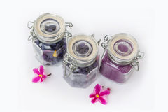 Candied petals of violets in the balls Stock Photos