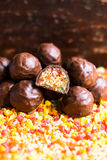Candied roasted hazelnuts and peanuts with dried apricot, dried cherry, candied pineapple fruit and honey in dark chocolate glaze stock image