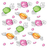 Candies. Hand drawn illustration of different candies.Drawn in Illustrator with pencil brush to make it look like traditional pencil drawing Royalty Free Stock Photography