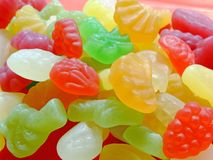 Candies. Mixed fruit shaped and flavored candies Royalty Free Stock Photography