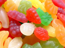 Candies. Mixed fruit shaped and flavored candies Stock Photography