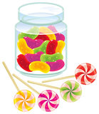 Candies. Colorful lollipops and gummi candies. Vector image royalty free illustration