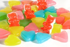 Candies. Some colored candies for a sweet Valentine Stock Image
