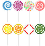Candies. Eight different candies isolated on the white background Royalty Free Stock Photography