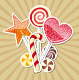Candies. Vector illustration of candies on brawn background Royalty Free Stock Photography