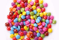 Candies. Colorful chocolate candies on white background Royalty Free Stock Images