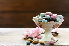 Candies almonds in sugar glaze. Candies almonds in sugar colored glaze Royalty Free Stock Photography