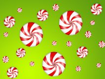 Candies background. Illustration of falling candies with red stripes Stock Photo