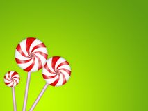 Candies background. Illustration of sweet candies on a green background Stock Photos