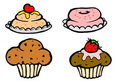Candies and cakes. Four piece of muffin and cake Stock Image
