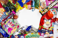 Candies, chocolates, sweets Stock Images