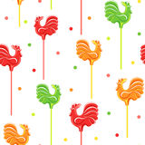 Candies and confetti. Seamless pattern. White background with colorful cocks. Vector illustration royalty free illustration